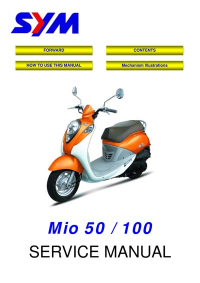 Workshop Manual for SYM Mio50