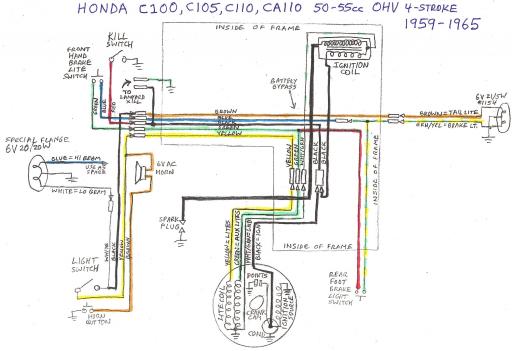 Honda C110 OHV (1959-1965) Wiring Schematic