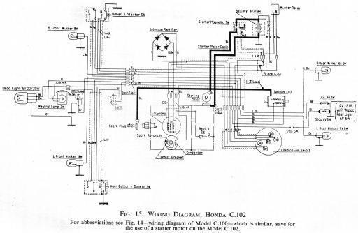 Honda C102 Wiring Schematic - HiRes