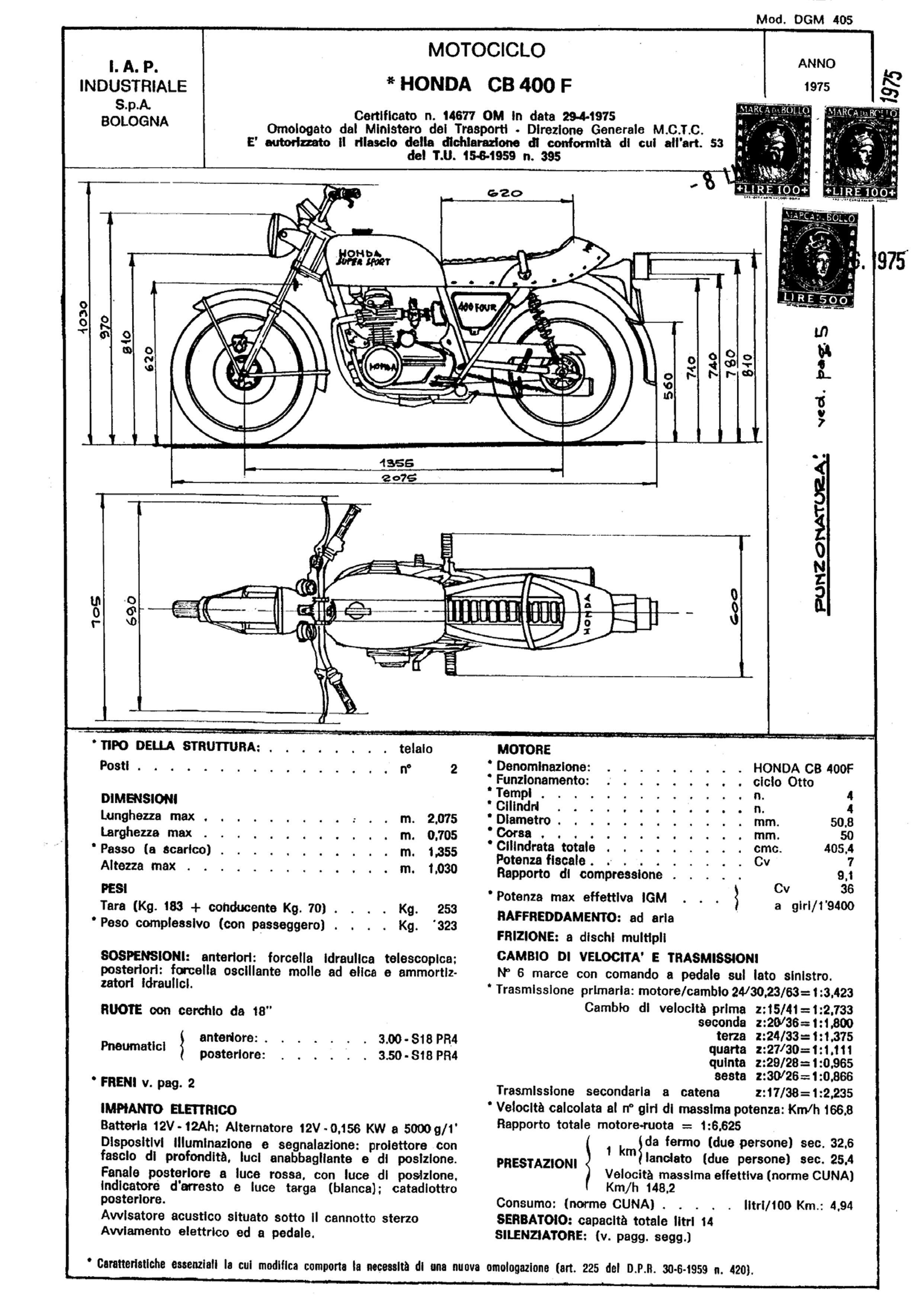 Conformity Declaration CB400F (Italian) (1975)