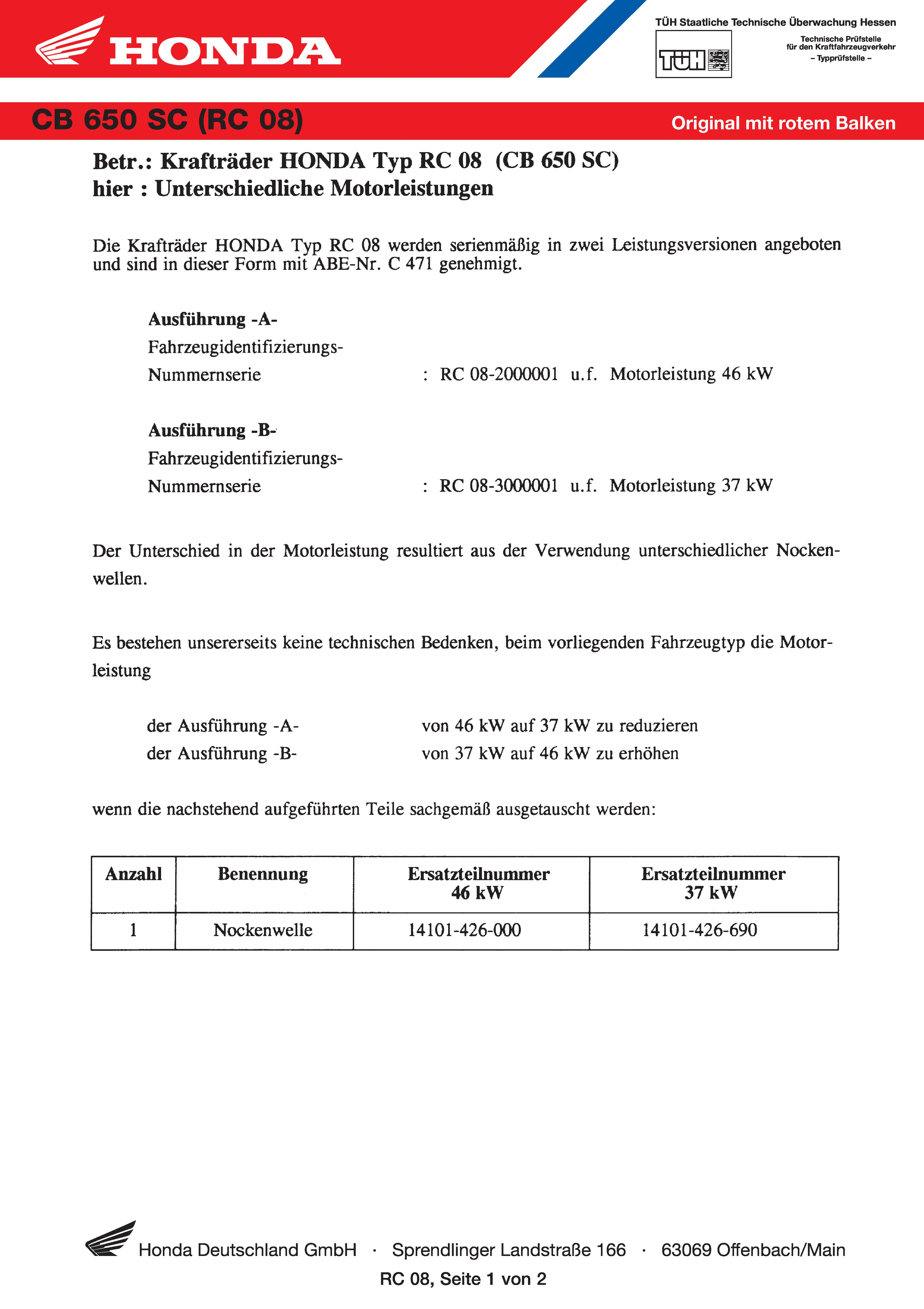 Conformity declaration Honda CB650SC RC08 (Germany) (1978)