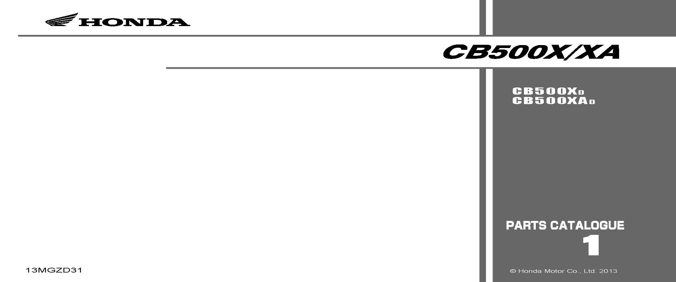 Parts List for Honda CB500XA (2013)