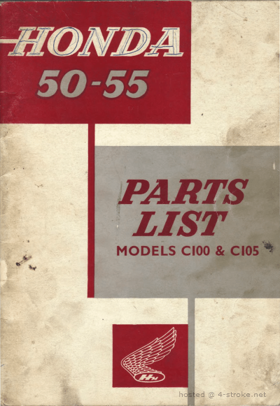 Parts list for Honda C100 and C105 (1963)