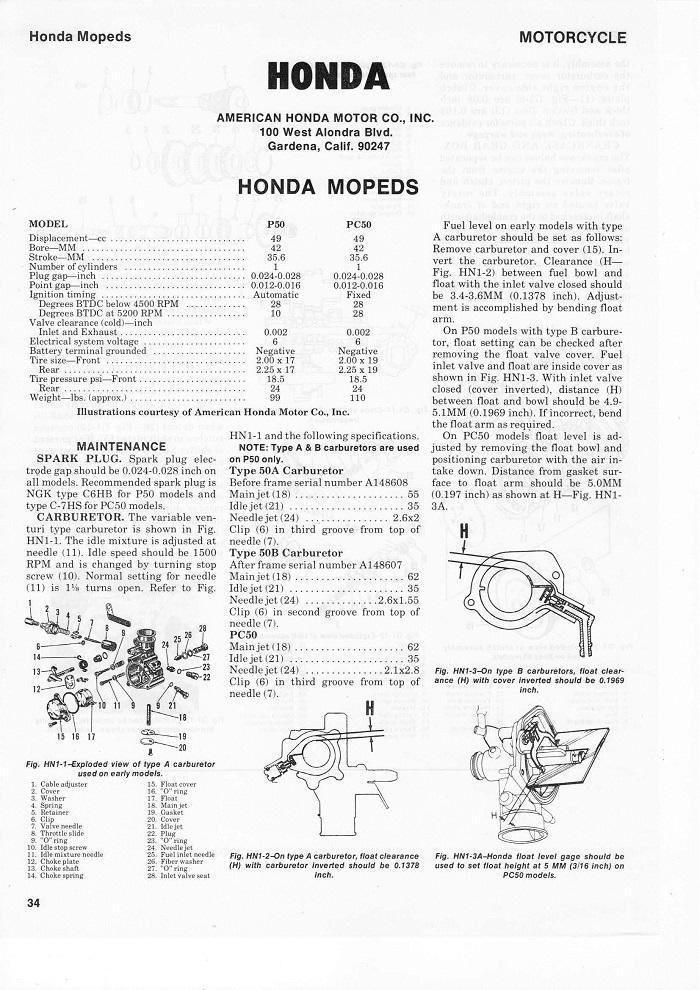 Service manual for Honda PC50