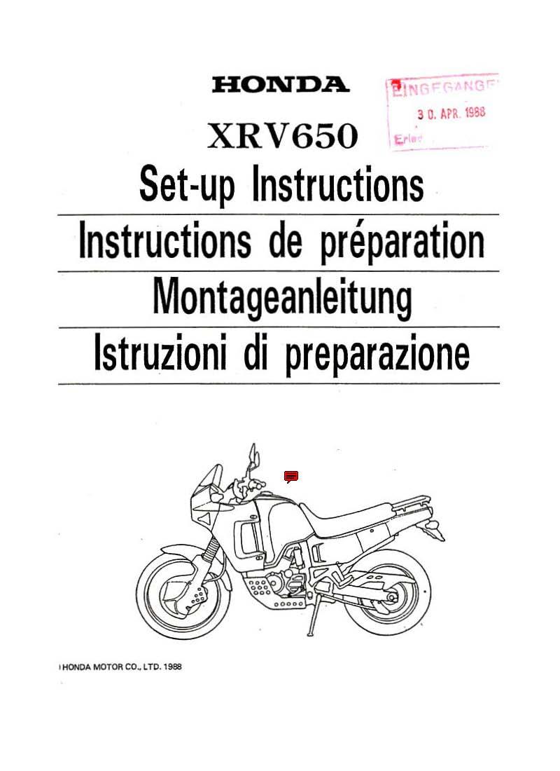 Setup manual for Honda XRV650 (1988)