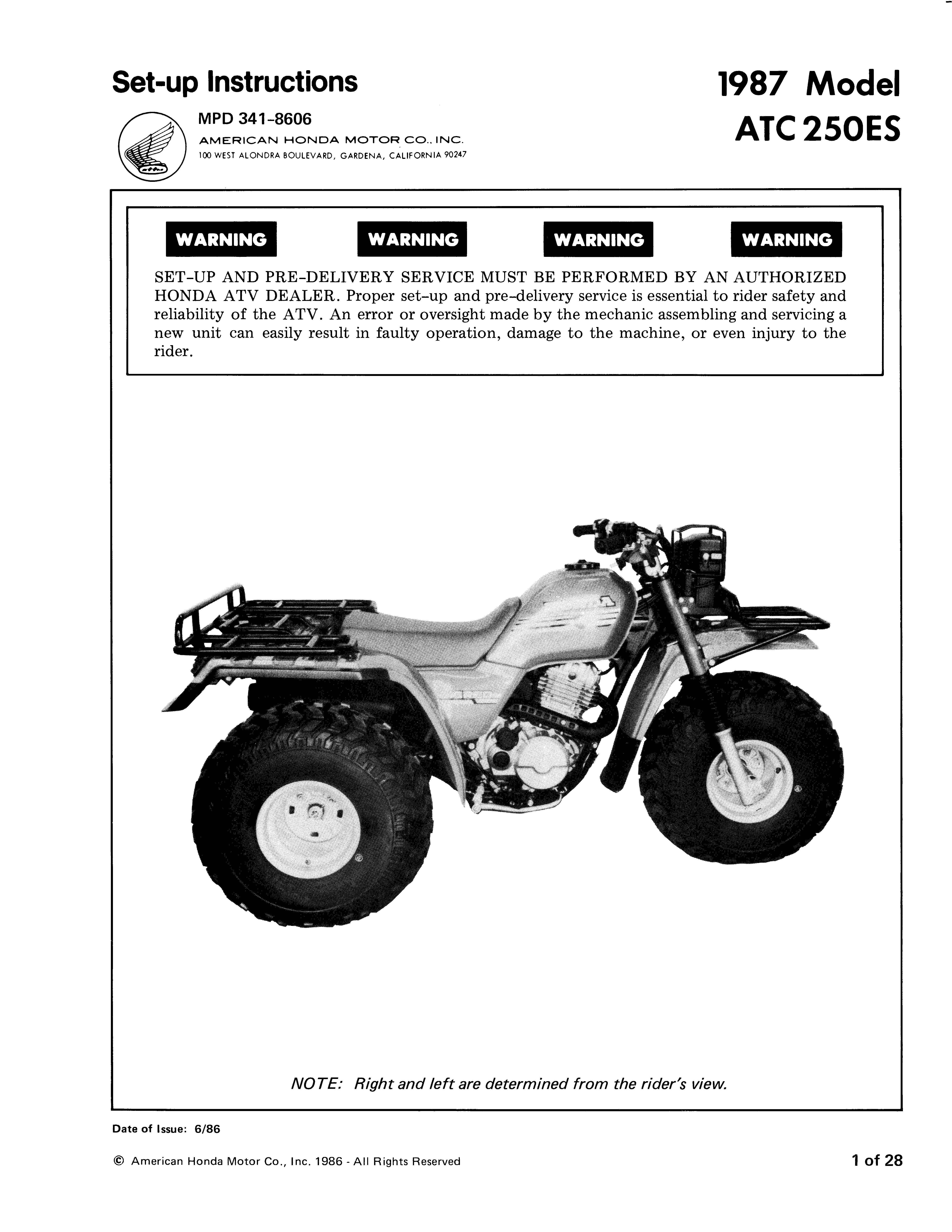 Setupmanual for Honda ATC250ES (1987)
